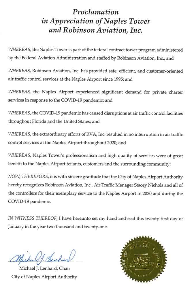 Naples Airport Authority Naples Tower and Robinson Aviation proclamation